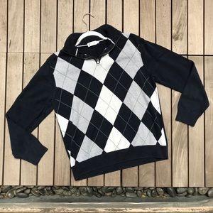 J. CREW Navy & Grey Diamond Plaid Half Zip Sweater